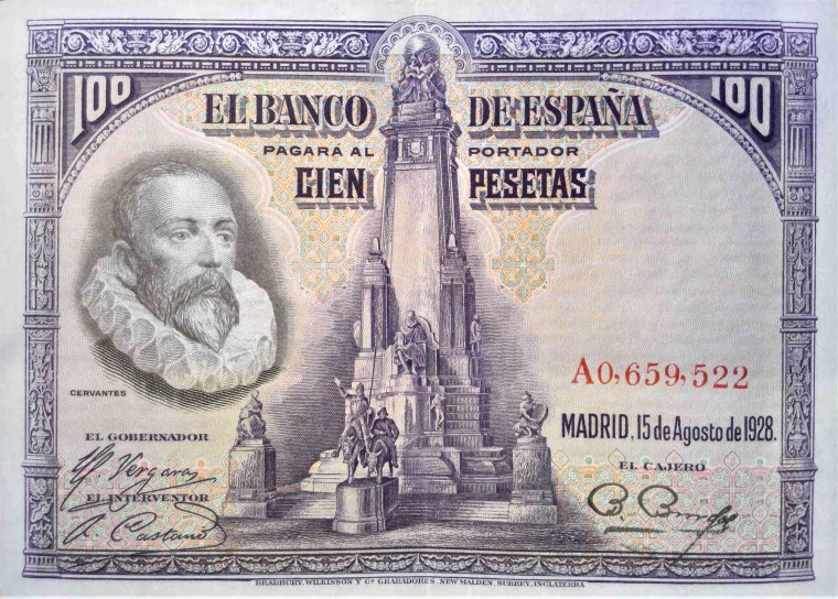 Spain 100 pesetas banknote, year 1928 front, featuring portrait of  Cervantes