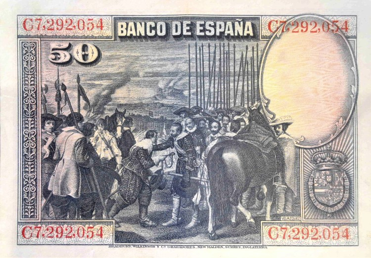 """Spain 50 pesetas banknote, year 1928 back, featuring painting """"Surrender of Breda"""" by Diego Velazquez"""