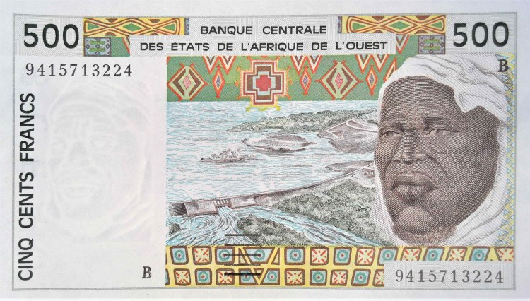 West african CFA 500 franc banknote front