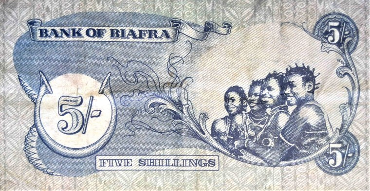 Biafra 5 shillings banknote back, featuring 4 smiling girls