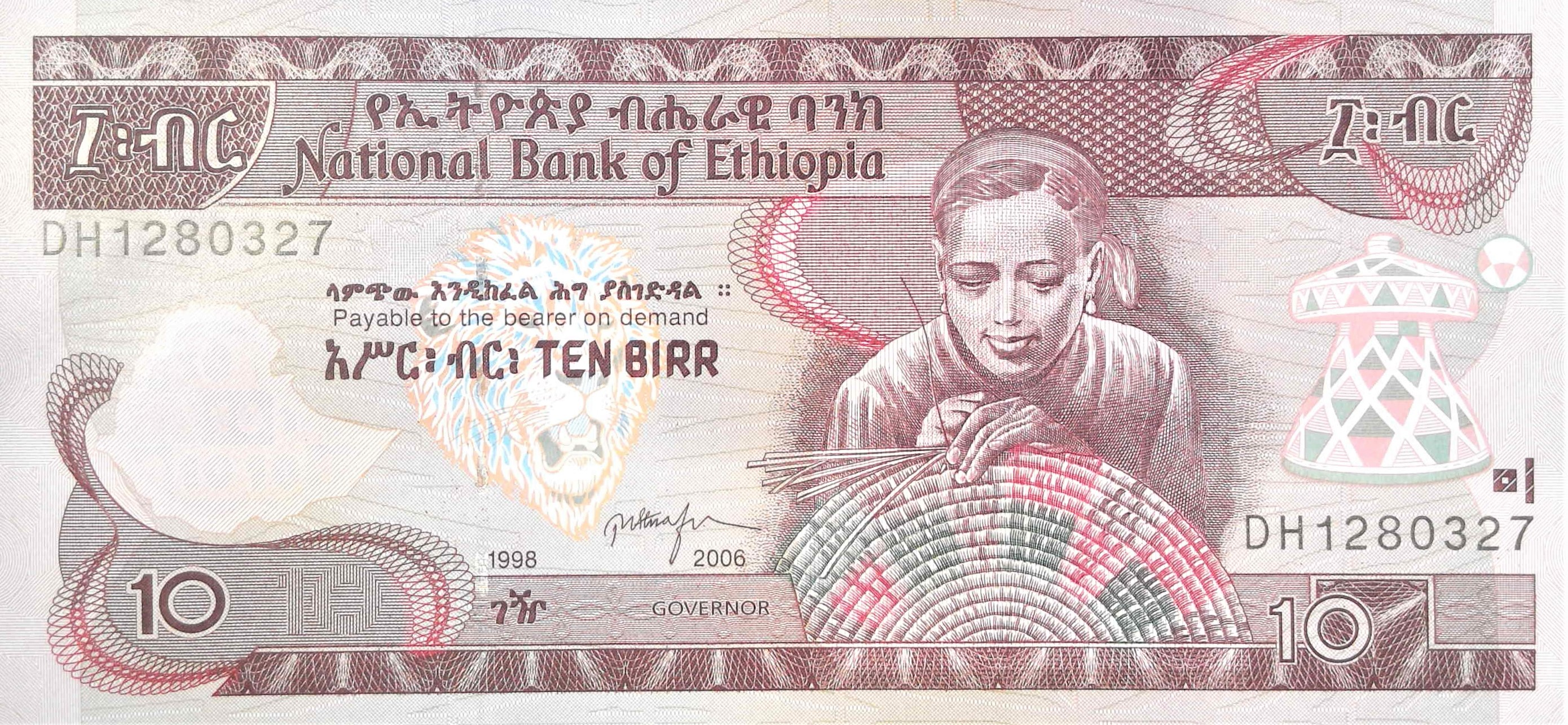 Ethiopia 10 Birr banknote year 2006 front, featuring woman weaving