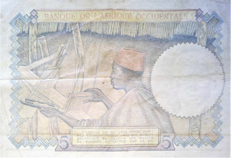 French West Africa 5 franc banknote 1941 back