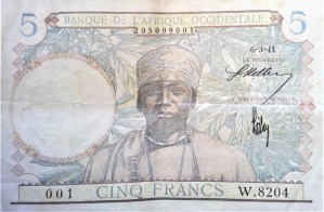 French West Africa 5 franc banknote 1941 front, featuring portrait of a leader