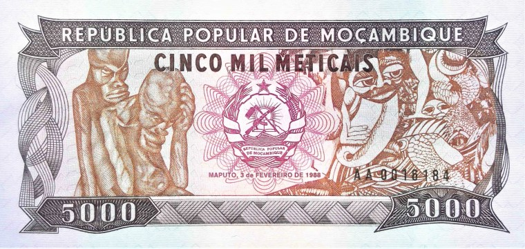 Mozambique 5000 Meticals banknote 1988 front, featuring wood carving by Alberto Chissano and painting by Malangatana Valente