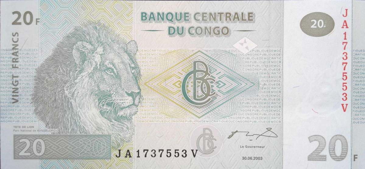 Democratic republic of the Congo 20 francs banknote 2003 front featuring male lion