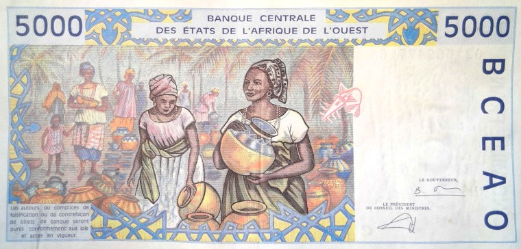 Burkina Faso 5000 francs 2002 banknote back featuring women in market scene