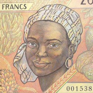 closeup detail of Central African CFA 2000 Franc Banknote front, featuring portrait of a woman