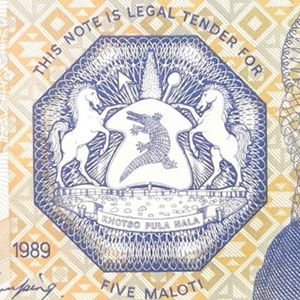 closeup of Lesotho coat of arms from Lesotho 5 maloti banknote