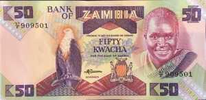 Zambia 50 Kwacha banknote front