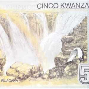 Angola 5 kwanza 2012 banknote (B550) back featuring bird flying over Ruacana waterfalls