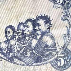 Biafran 5 Pound banknote back closeup of 4 Biafran girls smiling