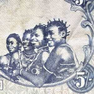 Biafran 5 Pound banknote back closeup of 4 Biafran girls smiling
