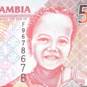Gambia 5 Dalasi banknote front a featuring young girl