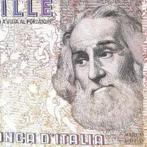 Italy 1000 Lira 1982 banknote back (2), featuring portrait of Marco Polo