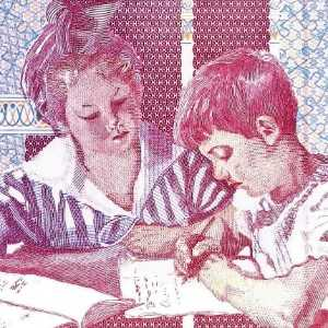 Italy 1000 Lira 1990 banknote back (2), featuring 2 school children, studying