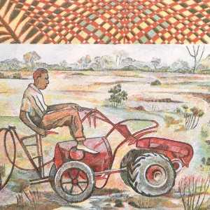 West Africa 500 Franc 1994 banknote back (2) featuring man on garden tractor