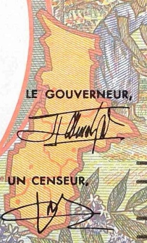 Chad 1000 francs banknote year 2000 closeup detail map
