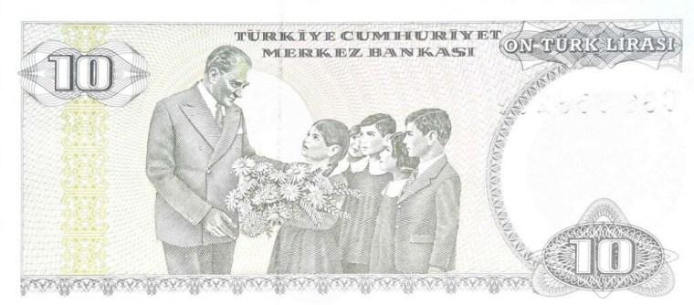 Turkey 10 Lira, Year 1970