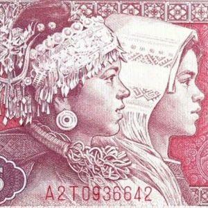 Closeup detail from China 5 Renminbi 1980 banknote front
