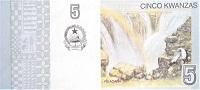 Angola 5 kwanza 2012 banknote (B550) back featuring bird flying over Ruacana waterfalls