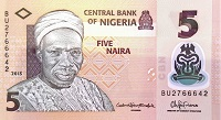 Nigeria 5 Naira Banknote, year 2015 front featuring portrait