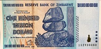 Zimbabwe 100 Trillion Dollar banknote 2008 front (2), featuring balanced stones