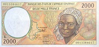 Central African CFA 2000 Franc Banknote front, featuring portrait of a woman