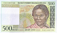 madigascar 500 francs banknote front, featuring portrait of a girl