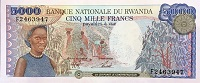 Rwanda 5000 Franc 1988 banknote front (2), featuring coffee harvesters