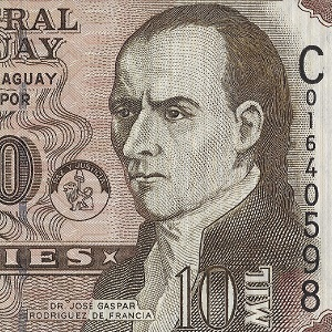 detail image from banknote of Paraguay of José Gaspar Rodríguez de Francia (1766–1840)