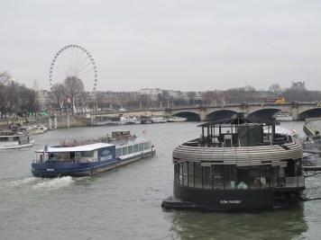 Paris, France, travel,Seine River,ferris wheel, barges, boats