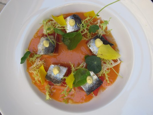 Gazpacho of grapefruit with water melon and sardines at Fosh Kitchen