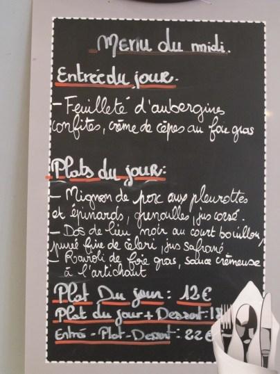 Menu of the Day Restaurant des Teinturiers Avignon, France.