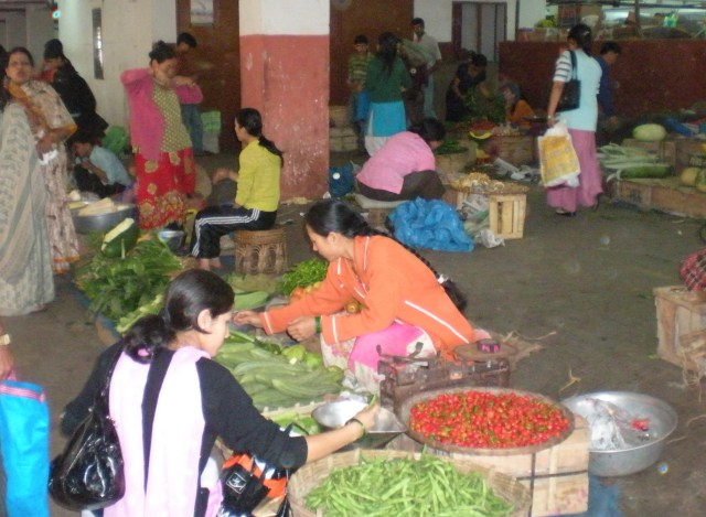 Vegetables for sale at a local market in Sikkim