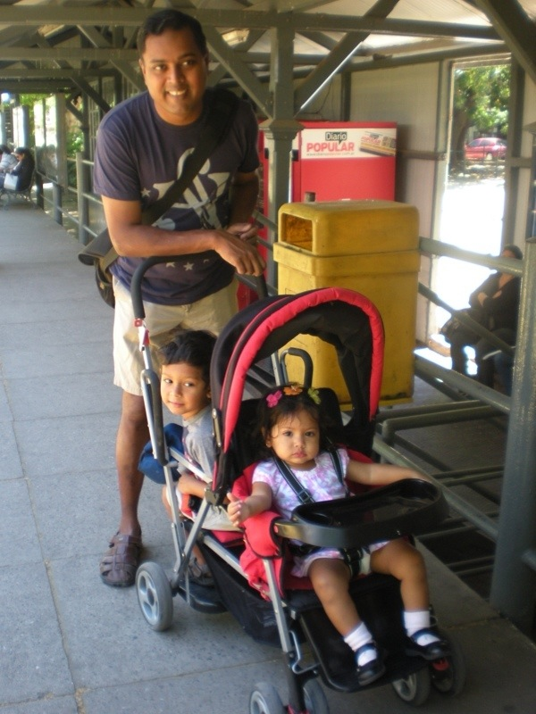 Our useful Joovy Caboose, bought just a few days before we took off...