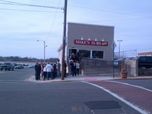 The line at Mike's Subs re-opening day