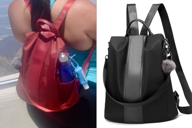 Pincnel Backpack, in red on a person, and in black