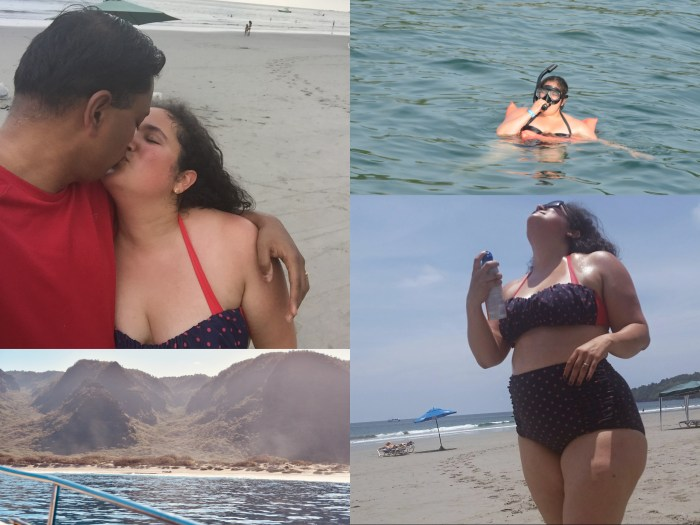 Couple kissing  on the beach, woman snorkeling, woman applying sunscreen, view of the mountains by the ocean from a boat