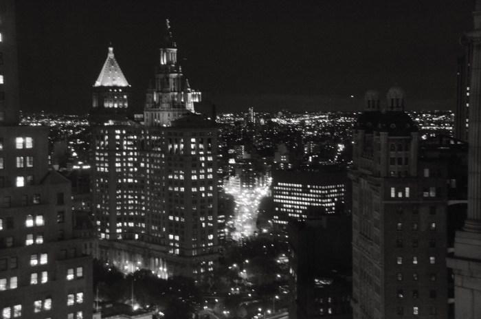 Black and White photo of New York skyline