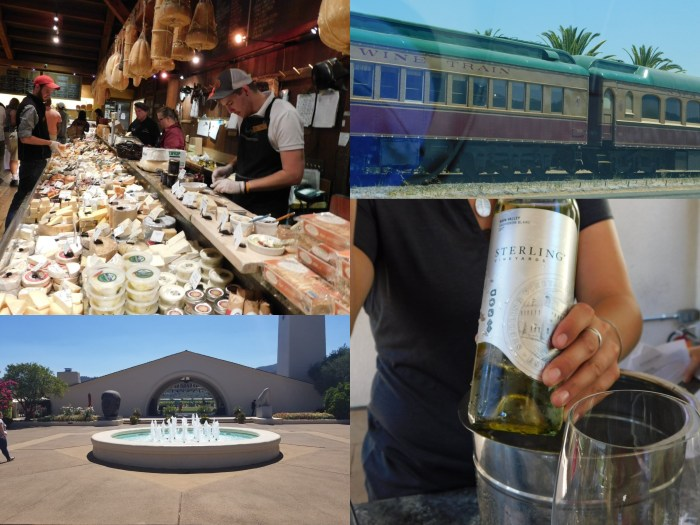 Several varieties of cheese at a market, Napa Wine Train, Sterling Wine and wine glass, fountain in front of a winery