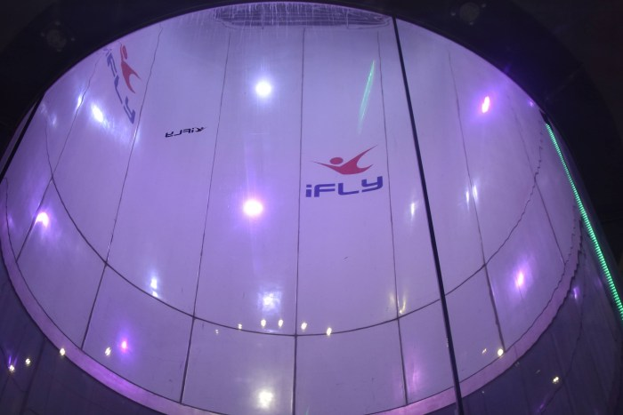 The indoor sky diving  tube at iFly San Diego