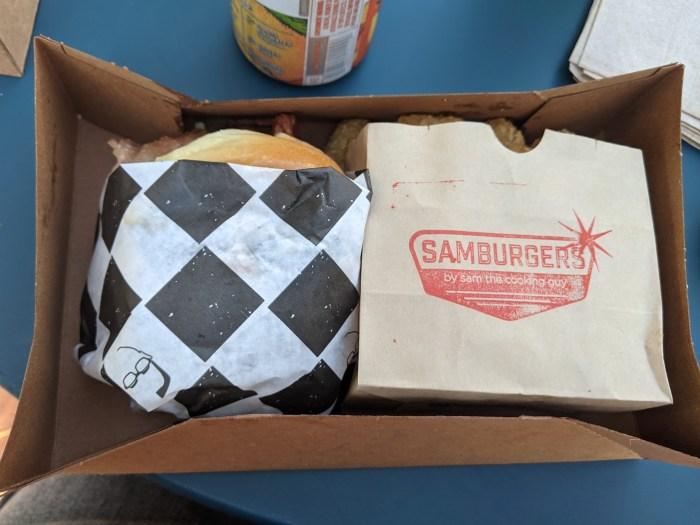 Samburger burger and tots in the to go box