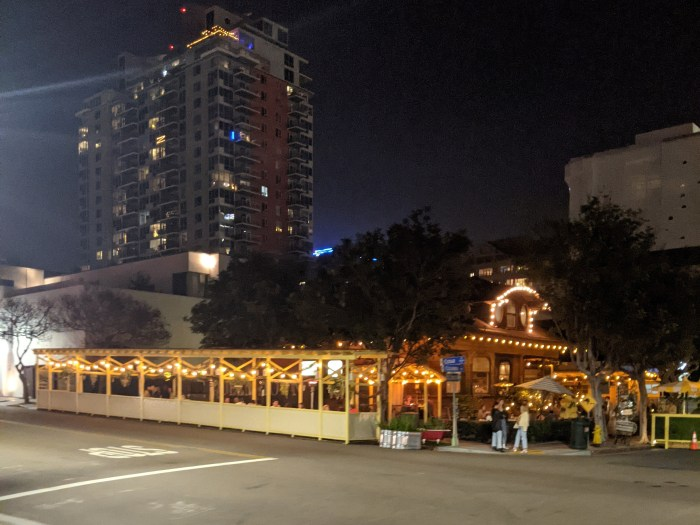 A restaurant with outdoor dining in San Diego's Little Italy