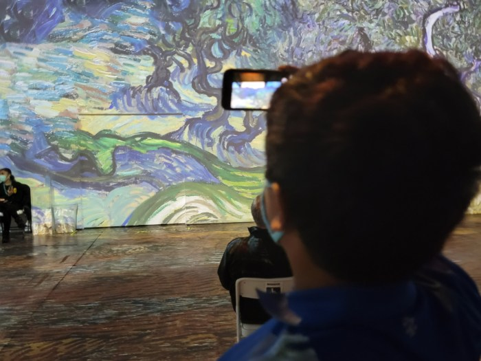 A young man taking a photo of a painting projected on the wall