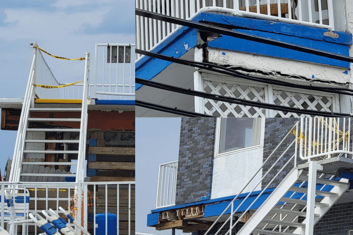A selection of photos showing some visible building structure issues