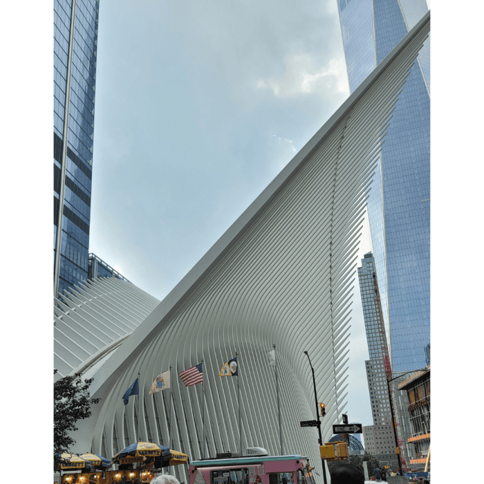 The white wings of the Oculus in front of the Freedom Tower