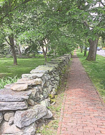 Stone Walls and Brick Sidewalks in Kingston