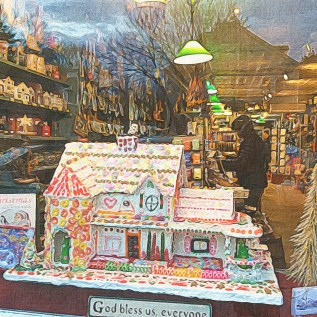 Gingerbread House in window of Williams and Sons