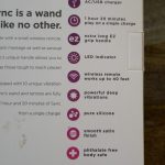 An up close picture of the back box of the Sola Sync Wireless Wand comes in against the backdrop of a table. It contains the key points - which are listed in the basics section.