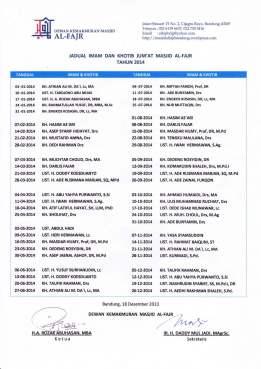 Jadwal Khotib Jumat 2014`